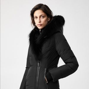 NEW MACKAGE KAY down coat w/signature blue fox fur